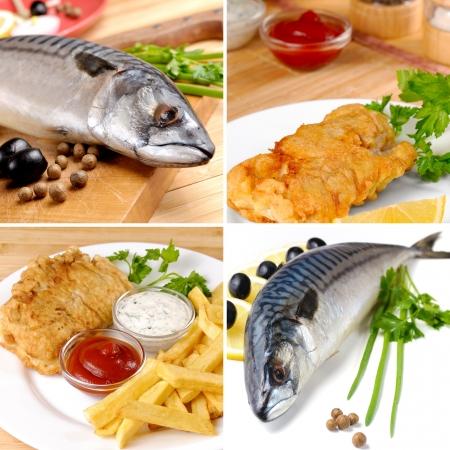 pescado frito: Placa blanca con pescado frito y patatas fritas y mayonesa ketchup collage Foto de archivo