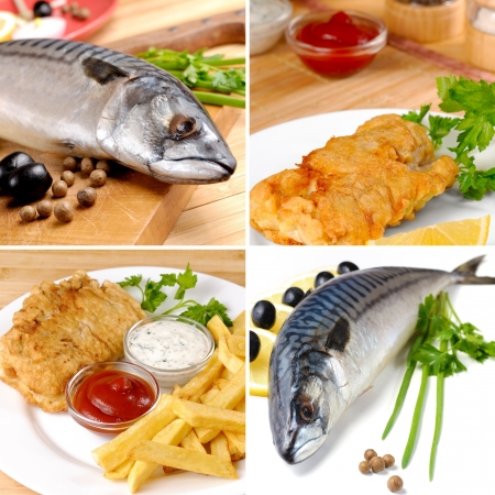 fried fish: White plate with fried fish and chips mayo and ketchup collage Stock Photo