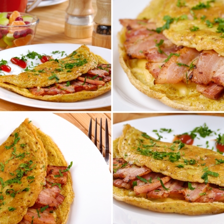 omelet: Omelet with bacon served on white plate set collage
