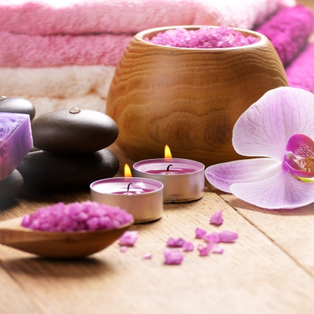 spa therapy: Lavender spa set of salt stones and candle Stock Photo
