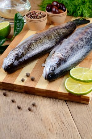 Two raw trout set on the chopping board with lime and spices Stock Photo - 18656355