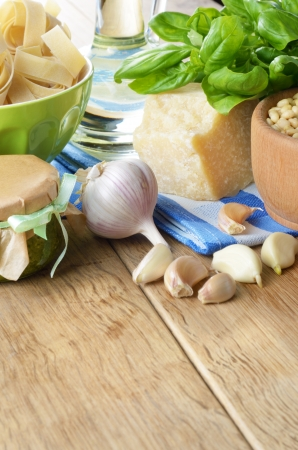 Ingredients and pesto sauce on the kitchen table Stock Photo - 18901932