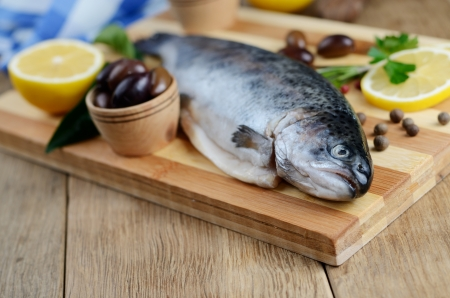 Raw trout on the chopping board with lemon and spices Stock Photo - 19628772