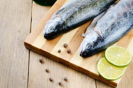 Two raw trout set on the chopping board with lime and spices Stock Photo - 20228225