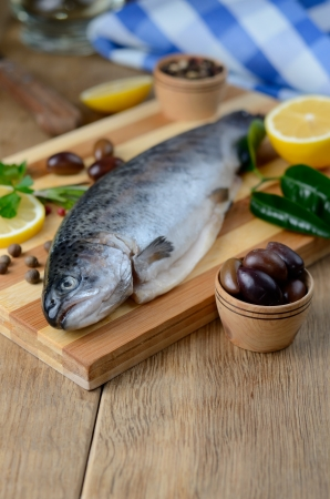 Raw trout on the chopping board with lemon and spices Stock Photo - 20380560
