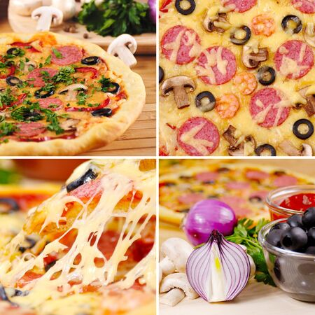Pepperoni pizza with mushrooms shrimps and olives collage photo