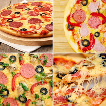 Pepperoni pizza with mushrooms shrimps olives and peppers collage photo