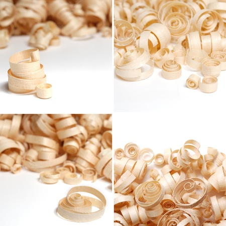 sawdust: Sawdust over the white background collage Stock Photo