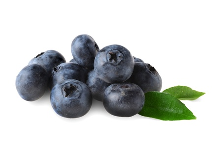 Fresh organic blueberries on white background photo