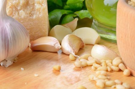 Raw ingredients for pesto sauce  photo