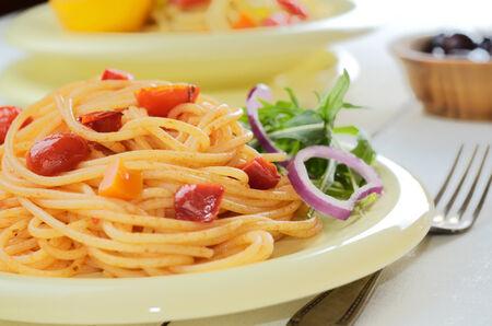 marinara: Spaghetti marinara pasta salad with arugula and olives