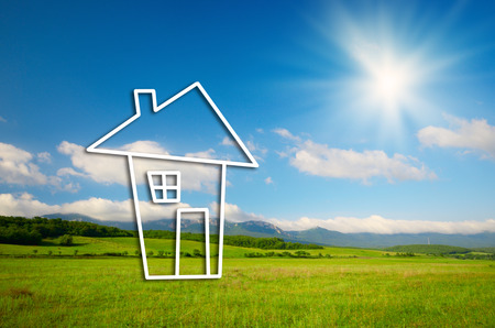 House real estate symbol concept over landscape background photo
