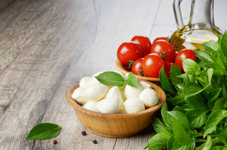 caprese salad: Mozzarella cheese, cherry tomatoes, basil leaves and olive oil - caprese salad ingredients with copy-space