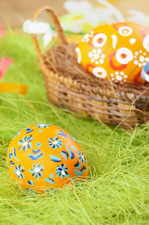painted eggs: Easter decorations - painted eggs in the basket
