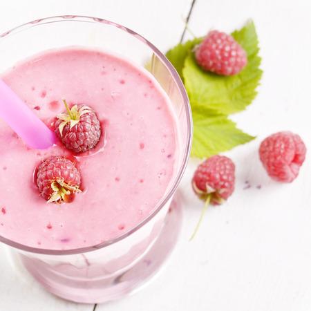 shake: Raspberry shake on white table. Smoothie concept Stock Photo