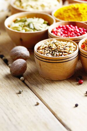 copyspace: Indian spices on wooden table with copy-space