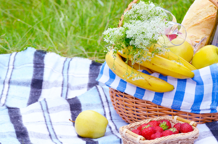 picnic blanket: Picnic basket with fruits wine and bread on the grass with strawberry aside