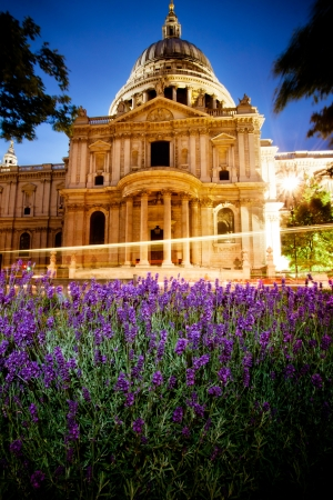 St Paul s cathedral in spring at dusk photo