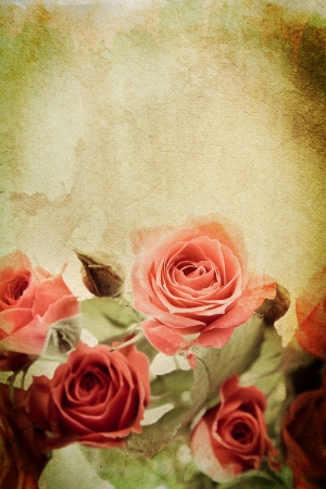 Vintage rose on watercolour background photo