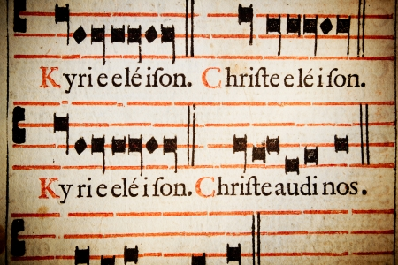 pentagramma musicale: Kyrie Eleison Christe eleison Signore, piet�, Cristo piet� Da un 17 italiani del messale romano riti di massa cattolico, in latino Archivio Fotografico
