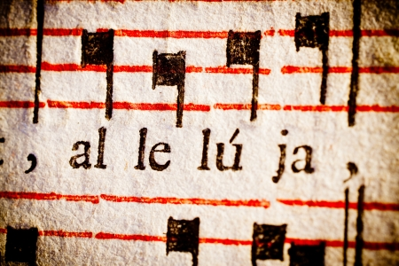 hymn: Detail of a 17th century old Latin missal and book of hymns, on the word