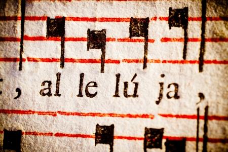 Detail van een 17e eeuws oude Latijnse missaal en zangboek, op het woord
