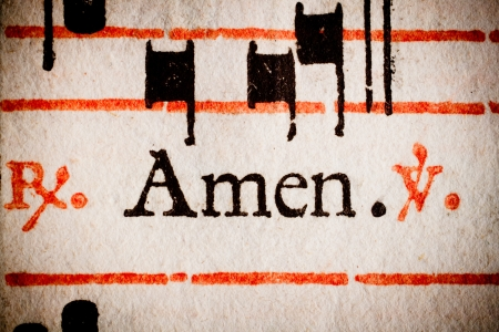 Detail of a 17th century old Latin missal and book of hymns, on the word  photo