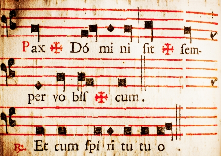 catholic mass: Pax Domini sit semper vobiscum  Et cum spiritu tuo  The peace of the Lord be with you always  And with you also  Part of the dismissal rite to the congregation in Latin Catholic mass  From a 17th century Italian missal  Stock Photo