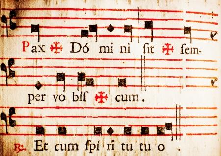 pentagramma musicale: Pax Domini sit vobiscum Semper Et cum spiritu Tuo La pace del Signore sia sempre con voi e con voi anche la parte del rito licenziamento alla congregazione della massa cattolica latina Da un messale del 17 � secolo italiano Archivio Fotografico