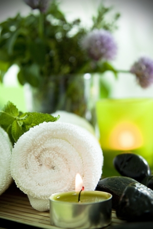 Warm towels, candles, herbs and zen stones for a spa treatment. Stock Photo - 13898538
