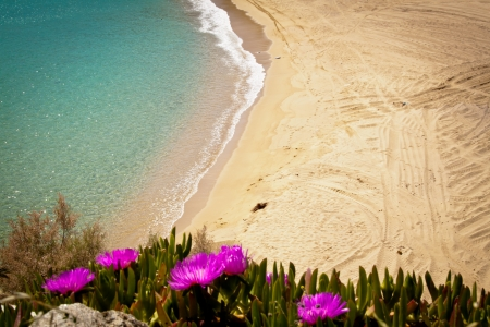 mykonos: Empty beach in Greece Stock Photo