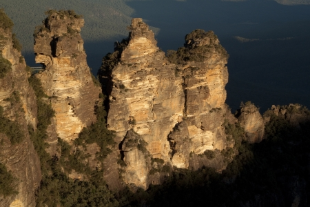 The Three Sisters Rock formation in Australia, New South Wales  Closer shot  photo