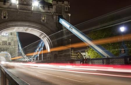black bridge: Tower bridge with light trails