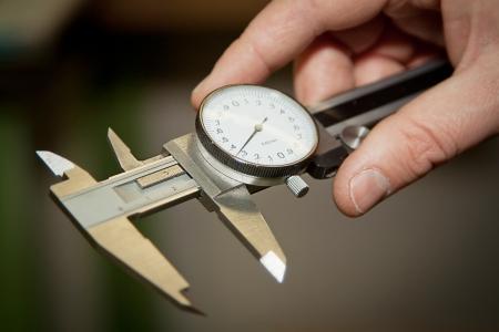 High precision measurement tools in a mechanics plant.  Stock Photo