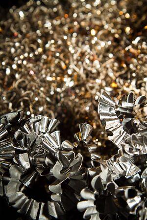Detail of a heap of CNC metal shavings  photo
