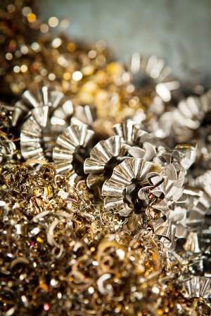 cutting machine is: Detail of a heap of CNC metal shavings