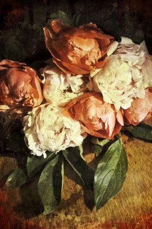 pfingstrosen: Vintage romantischen Pfingstrosen auf Distressed Hintergrund Desaturated retro fühlen als Grußkarte oder eine Liebesbotschaft Großen Lizenzfreie Bilder