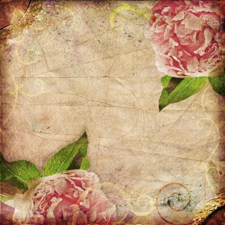 Vintage peonies on distressed background  Square format  Great as a greetings card or for a love message  photo