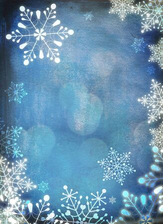 snowflake border: Christmas card with white snowflakes against blue background  Plenty of copy space  Hand-painted elements with digital elements