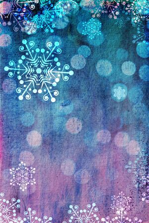 christmas motif: Christmas card with snowflakes against blue and pink bokeh background  Plenty of copy space  Hand-painted elements with digital elements  Watercolour texture  Stock Photo