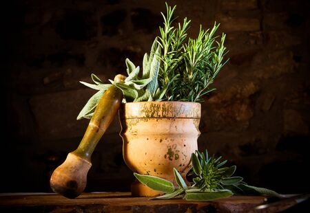 pestel: Old and weathered pestel and mortar with fresh rosemary and sage ready to be crushed Stock Photo