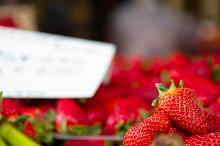 heathy diet: Strawberries for sale at farmers Stock Photo