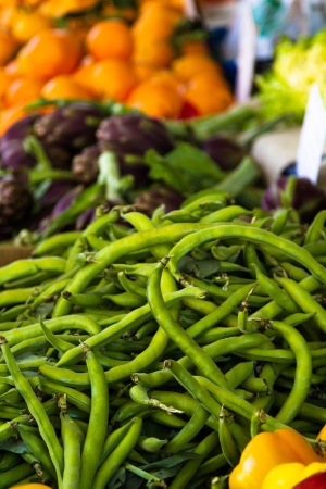 heathy diet: Heap of broad beans for sale at farmers