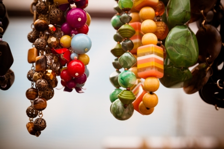 bead jewelry: Vintage colourful jewellery for sale at market.