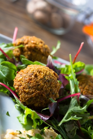 Middle East cuisine: a plate of delicious falafels and hummus. Vegetarian fare. photo