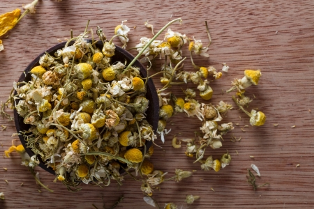 Dried chamomile buds: for tea, alternative medicine, pot-pourri. Copy space. photo