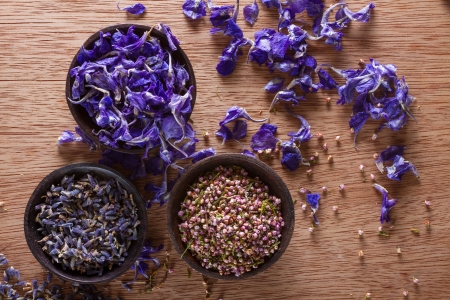 fragrant scents: Dried flower petals: scented lavender, heather and larkspur. Copy space. Stock Photo