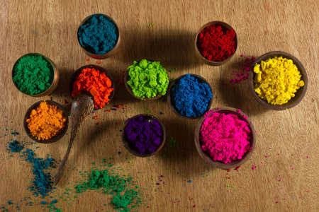 pigments: Colorful, finely powdered Indian pigments.