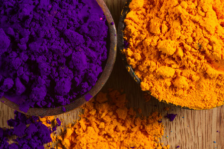 complementary: Colorful, finely powdered Indian pigments. Complementary colours: purple and yellow.