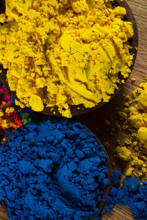 complementary: Colorful, finely powdered Indian pigments. Complementary colours: blue and yellow.